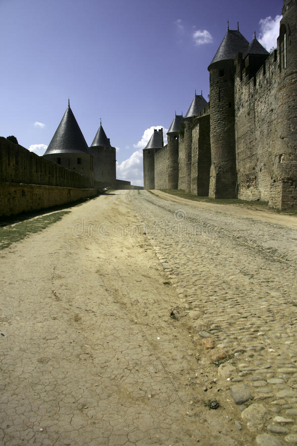 Carcassonne Castle - France. A view of a part of the outer walls of Carcassonne Castle - France royalty free stock images