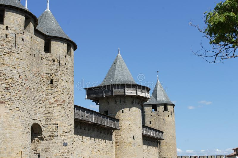 Carcassonne castle and medieval tour stock photography