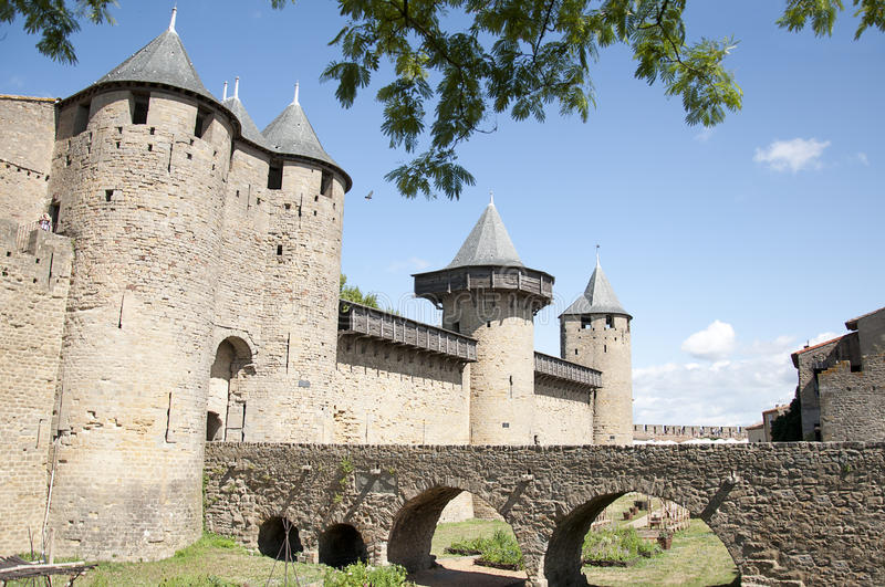 Carcassonne Castle. View of Carcassonne Castle and its access bridge located at Carcassonne, Languedoc-Roussillon, France royalty free stock images