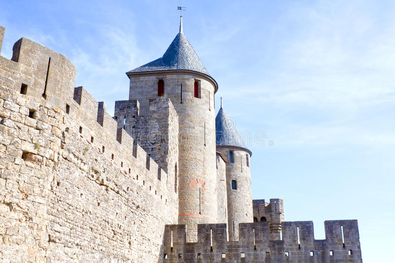 Carcassonne city with its towers and walls royalty free stock photos