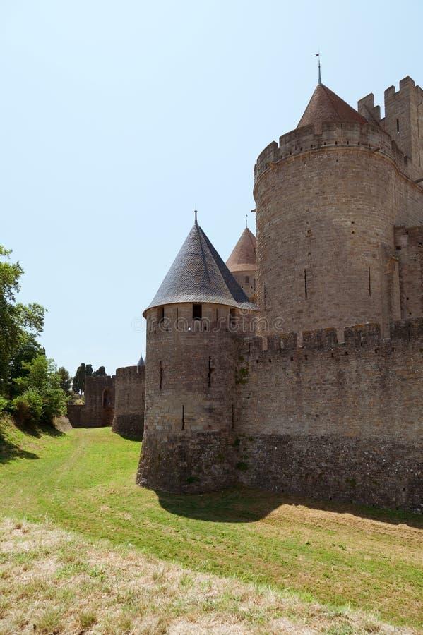 Carcassonne Den franska staden Aude södra Frankrike royaltyfri fotografi