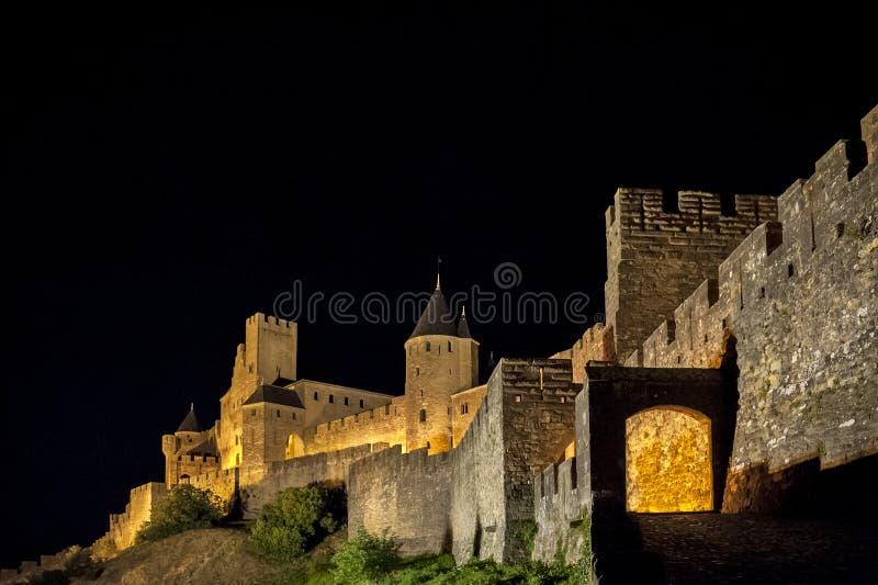 Carcassonne - en stärkt fransk stad i den Aude avdelningen, region av Languedoc Roussillon, Frankrike, Unesco-plats fotografering för bildbyråer