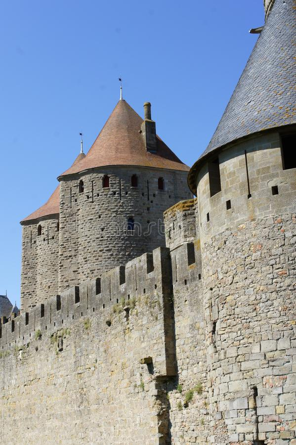 Carcassonne Forteress and medieval castle stock photo