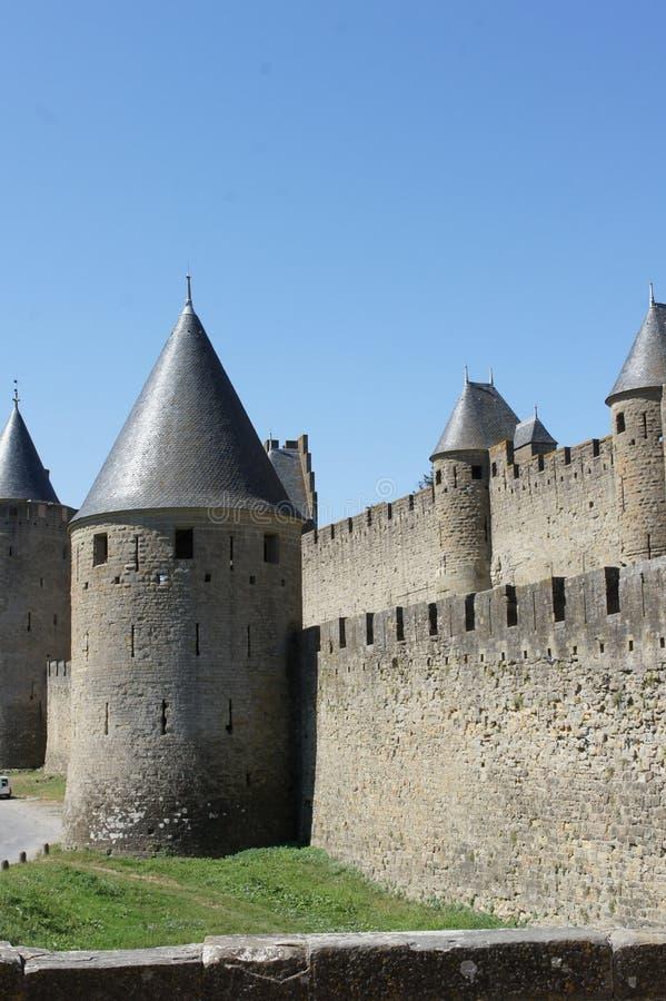 Carcassonne Forteress och medeltida slott royaltyfria bilder