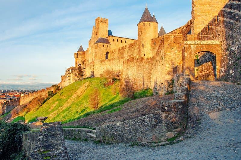 Carcassonne france Beau paysage de coucher du soleil dans la ville célèbre en France photographie stock