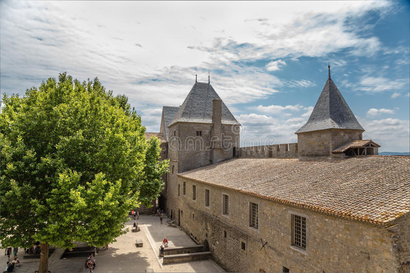 Carcassonne, France. The courtyard of the castle Comtal, 1130. UNESCO List. Chateau Comtal is located within the fortress of Carcassonne, which was founded by stock photography
