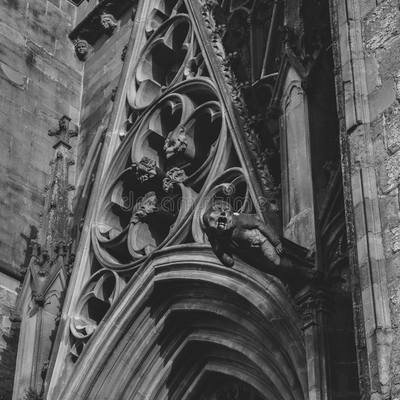 Gargoyle or gargouille - Carcassonne, France. Carcassonne, France - June 14th, 2018: Gargoyle or gargouille - Carcassonne France stock photography