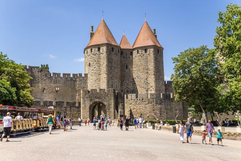 Carcassonne, France Porte scénique de Narbonne, 1280 Liste de l'UNESCO photo stock
