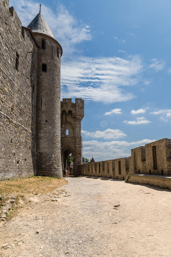 Carcassonne, Francja Impregnable średniowieczny forteca, zawierać w UNESCO liście zdjęcie royalty free