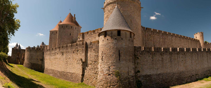 Carcassonne, in Frankrijk stock foto