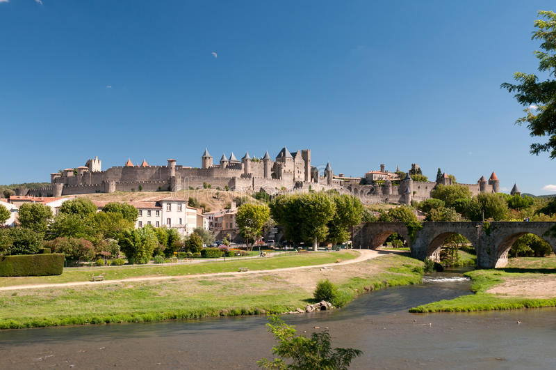 Carcassonne, in Frankrijk royalty-vrije stock afbeeldingen