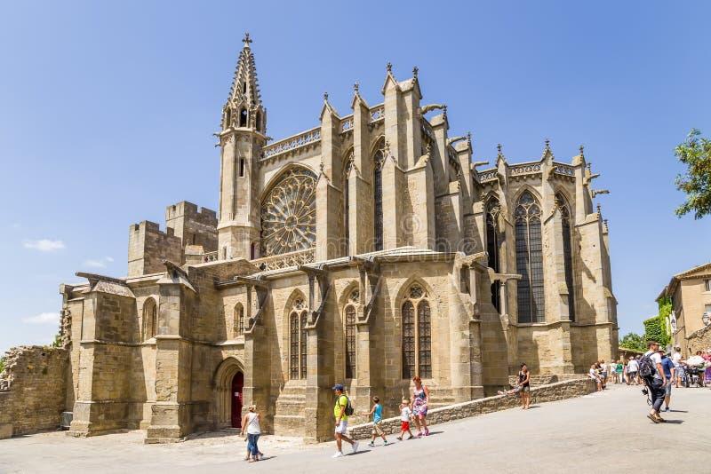 Carcassonne Frankrike Basilika av St Nazaire, XI århundrade royaltyfria bilder