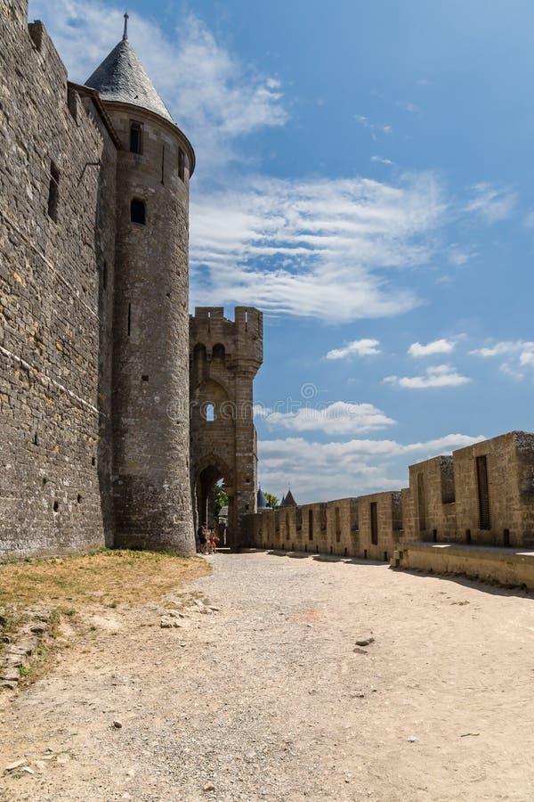 Carcassonne Frankrike Ointaglig medeltida fästning som är inklusive i UNESCOlistan royaltyfri foto