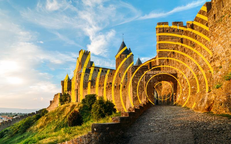 Carcassonne, a hilltop town in southern France, is an UNESCO World Heritage Site famous for its medieval citadel stock photography