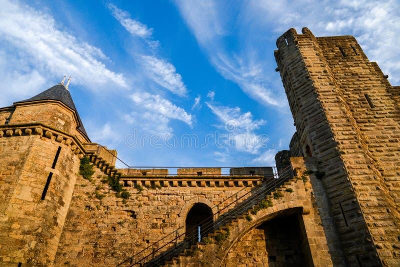 Carcassonne ist eine verstärkte französische Stadt in der Aude-Abteilung, wurde hinzugefügt der UNESCO-Liste von Welterbestätten  lizenzfreie stockfotografie
