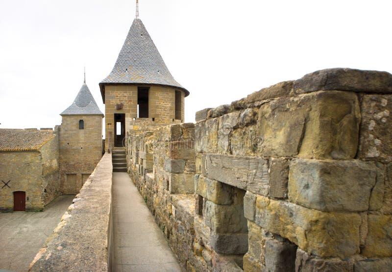 Carcassonne kasztel na ponurym dniu zdjęcia stock