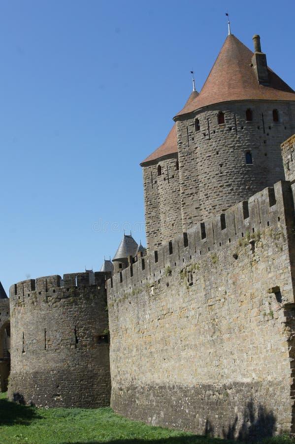 Carcassonne medeltida Forteress och slott royaltyfri foto