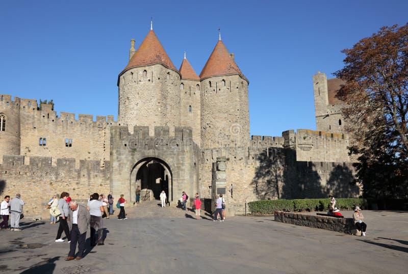 carcassonne medeltida town royaltyfri bild