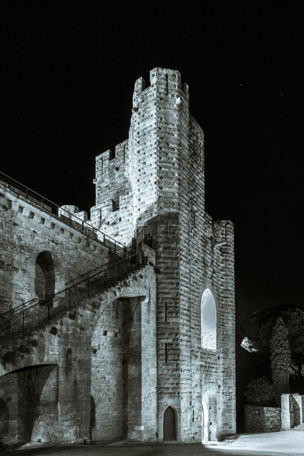 Carcassonne medieval fortress night view, old walls and towers h royalty free stock photo