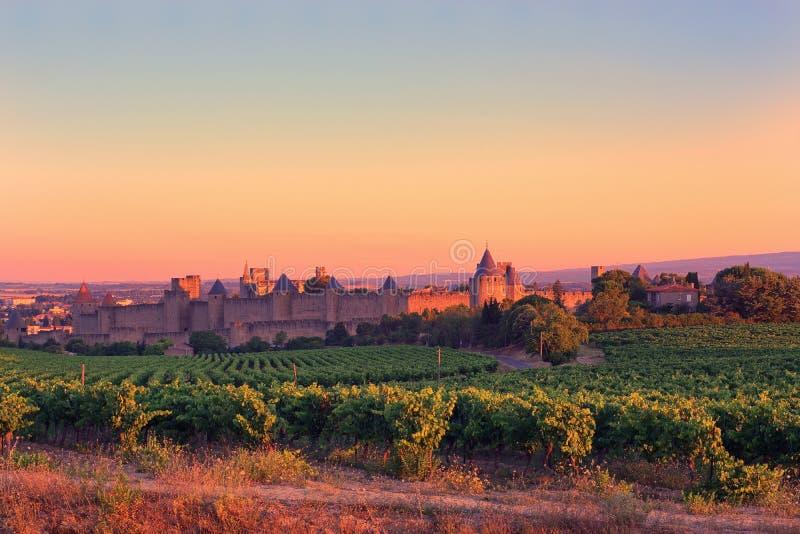 Carcassonne no nascer do sol foto de stock royalty free