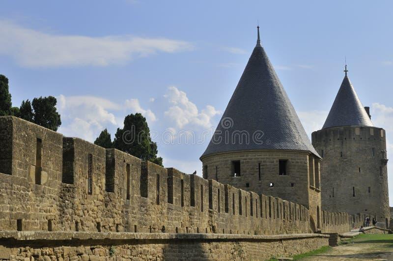 carcassonne ramparts royaltyfria bilder