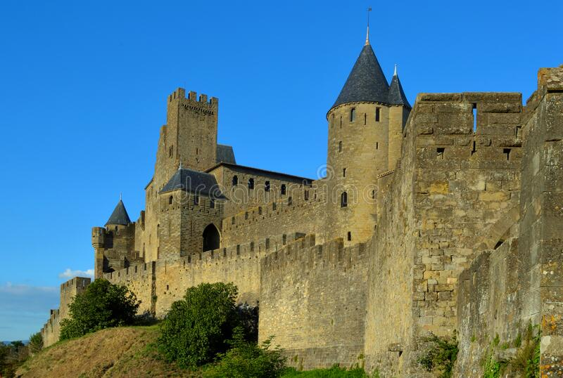 Carcassonne  medieval  citadel with numerous watchtowers. Carcassonne,  in southern France's Languedoc area, is famous for its medieval citadel, La Cité, with royalty free stock images