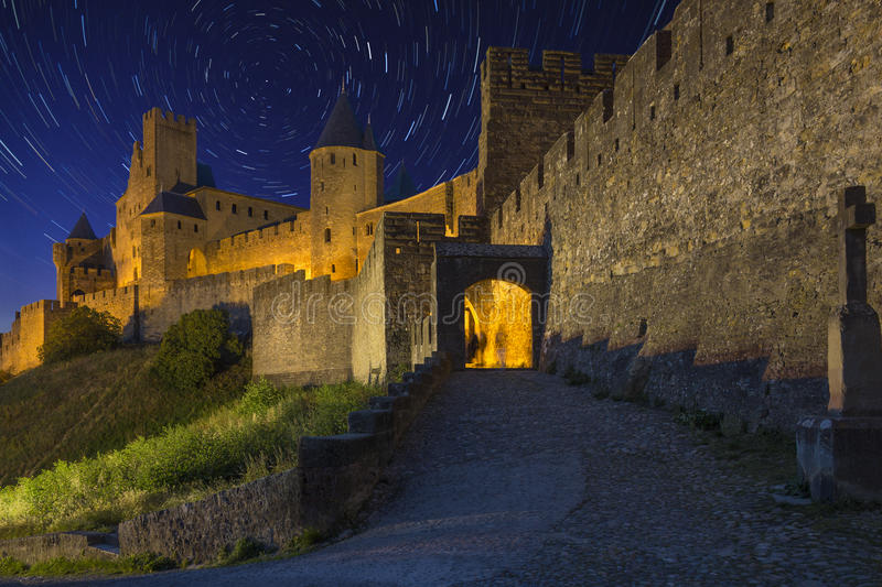 Carcassonne - Star Trails - France royalty free stock photos