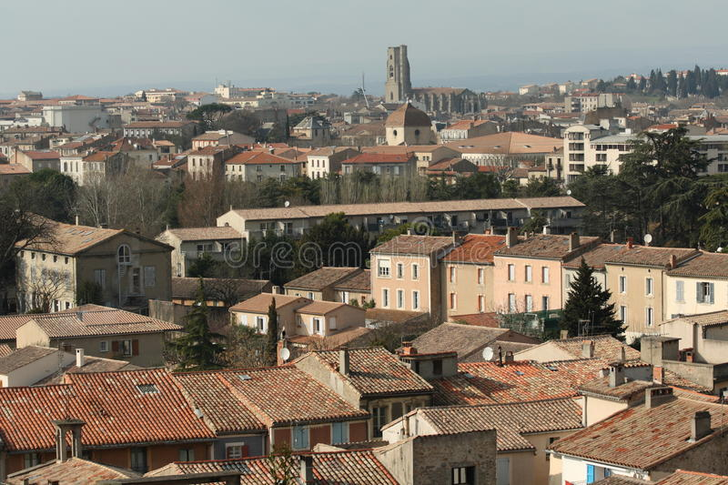 Carcassonne town in Aude, France stock photography