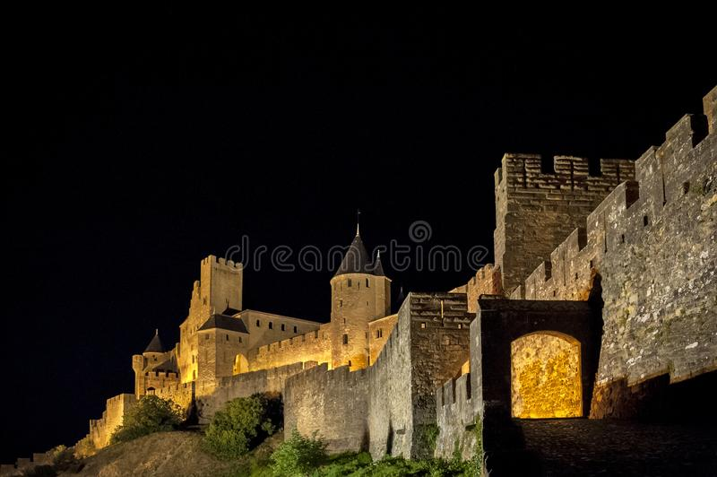 Carcassonne - une ville française enrichie dans le département de l'Aude, région du Languedoc-Roussillon, France, site de l'UNESC image stock