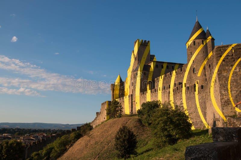 Carcassonne-Westseite ohne Leute lizenzfreies stockbild