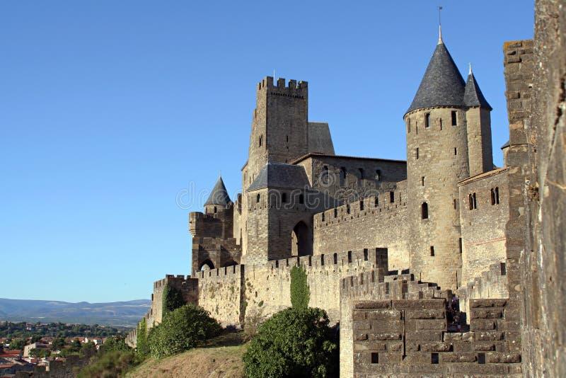 carcassonne zamku otoczenia widok zdjęcie stock