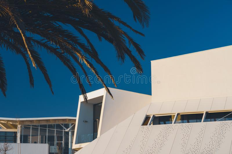 Carcavelos, Portugal - 12/31/18: Nova University executive education. School of business and economics. New avant garde modernist architecture stock photo