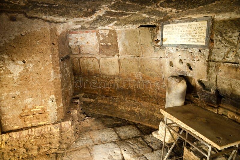 Carcere Mamertino - целла St Peter внутренности на Рим стоковое изображение rf