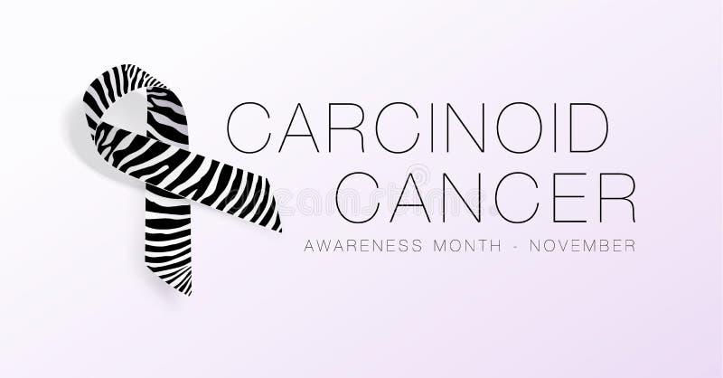 Carcinoid Cancer Awareness Calligraphy Poster Design. Realistic Zebra Stripe Ribbon. November is Cancer Awareness Month. Vector. Illustration vector illustration