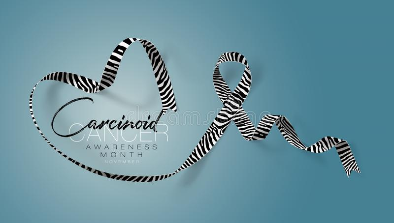 Carcinoid Cancer Awareness Calligraphy Poster Design. Realistic Zebra Stripe Ribbon. November is Cancer Awareness Month royalty free illustration