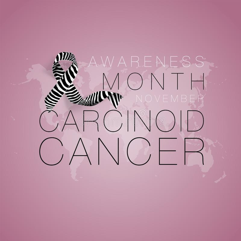 Carcinoid Cancer Awareness Calligraphy Poster Design. Realistic Zebra Stripe Ribbon. November is Cancer Awareness Month stock illustration