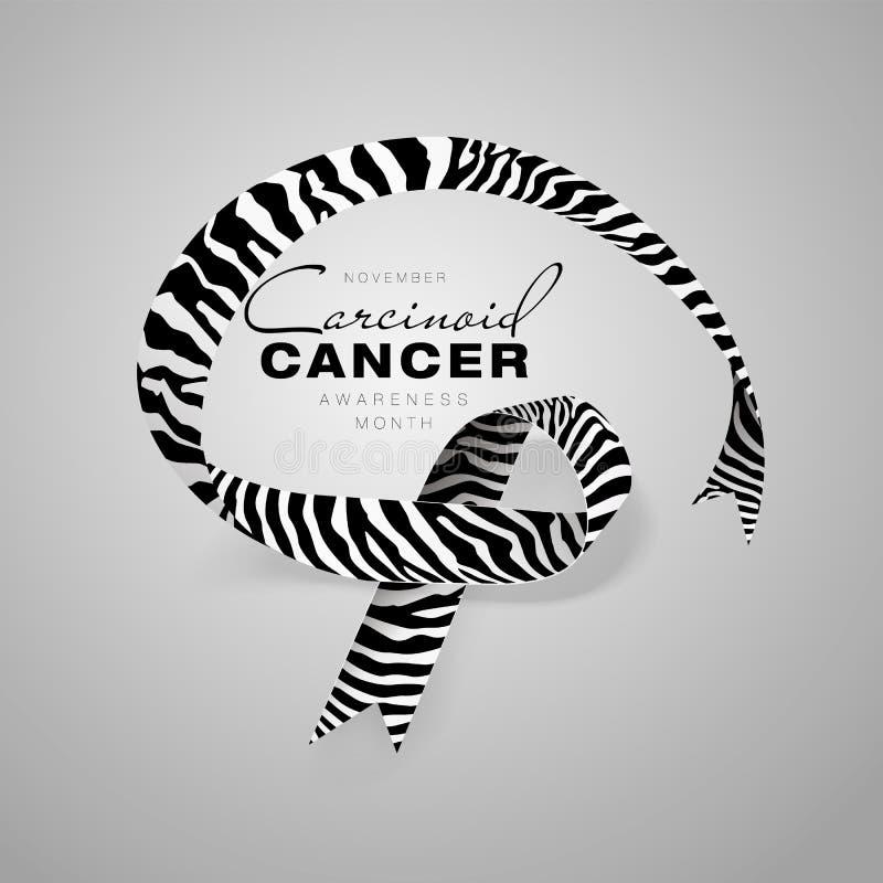 Carcinoid Cancer Awareness Calligraphy Poster Design. Realistic Zebra Stripe Ribbon. November is Cancer Awareness Month vector illustration