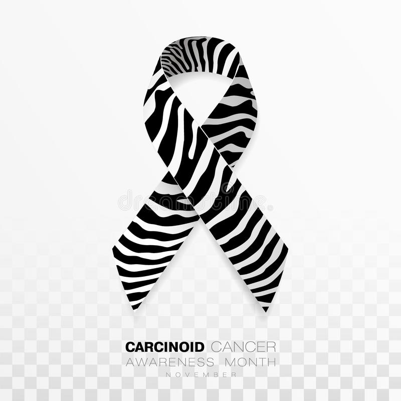 Carcinoid Cancer Awareness Month. Zebra Stripe Color Ribbon Isolated On Transparent Background. Vector Design Template For Poster royalty free illustration