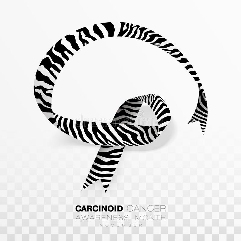 Carcinoid Cancer Awareness Month. Zebra Stripe Color Ribbon Isolated On Transparent Background. Vector Design Template. For Poster. Illustration vector illustration