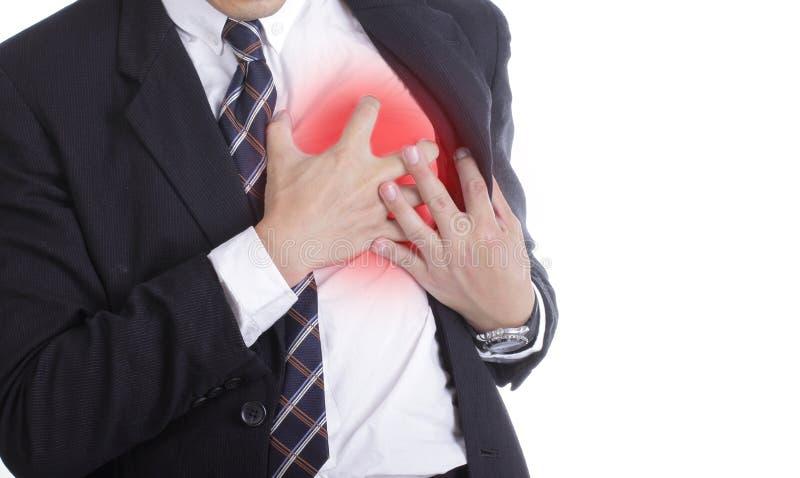 Cardíaco de ataque durante o trabalho fotografia de stock