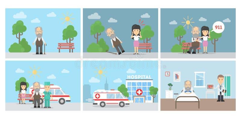 Cardíaco de ataque infographic ilustração royalty free