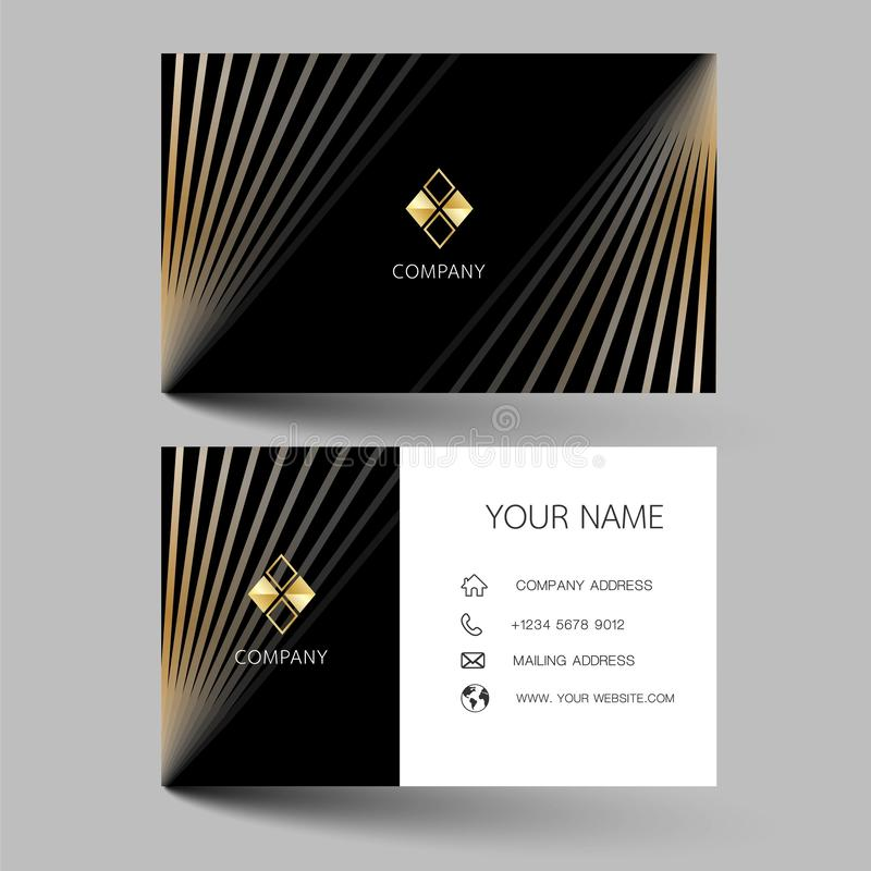 Black modern business card design. With inspiration from the abstract contact card for company. Simple clean template vector illus vector illustration