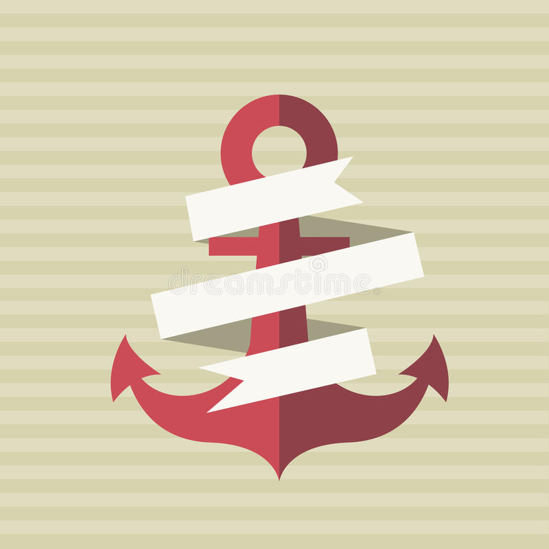Card with an anchor and a tape vector illustration