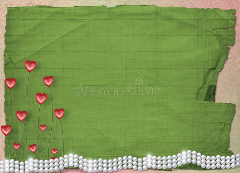 Download Card For Anniversary With  Pearls And  Hearts Stock Illustration - Image: 12737085