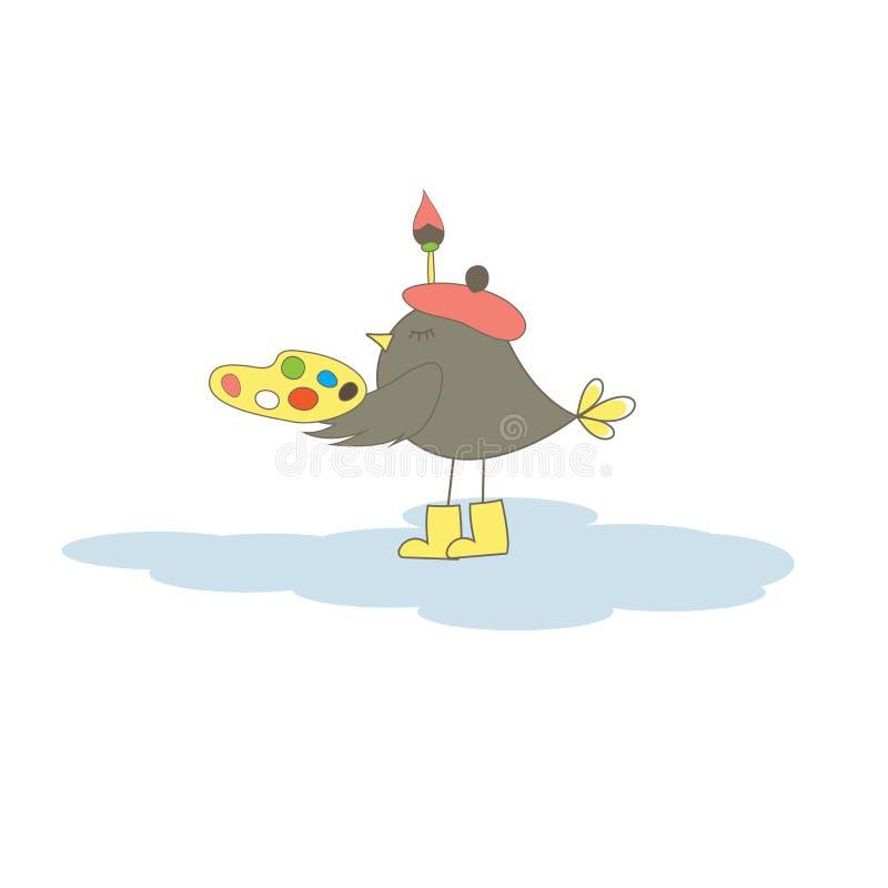 Card with artist bird. Vector illustration vector illustration
