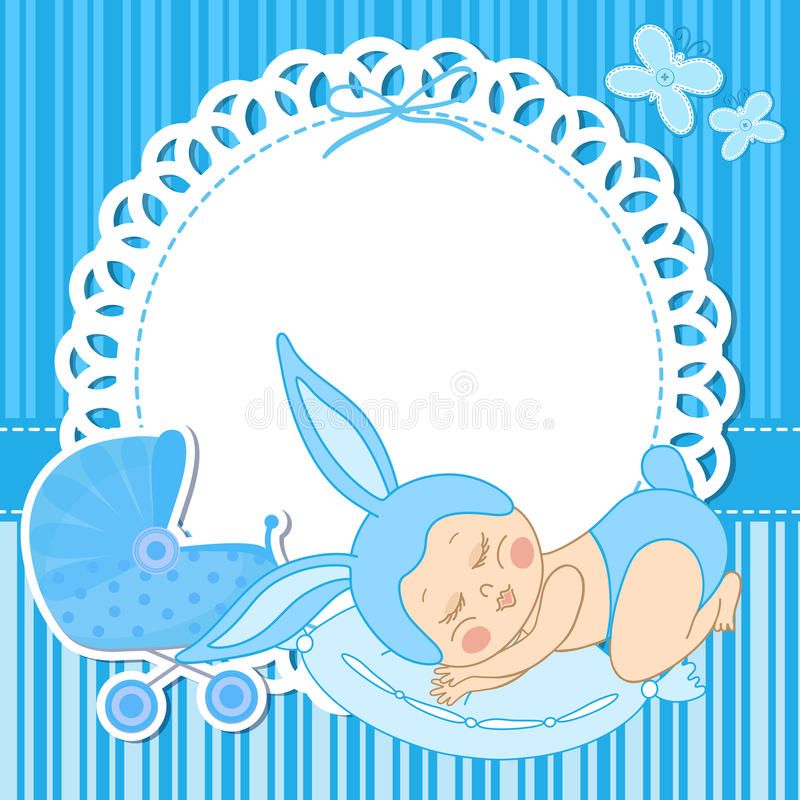 Card with baby boy born in bunny costume stock vector illustration download card with baby boy born in bunny costume stock vector illustration of happy m4hsunfo