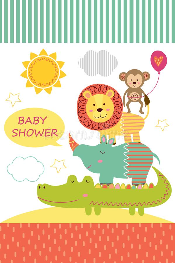 Download Card With Baby Jungle Animals Stock Vector - Illustration of friendly, cloud: 99351409