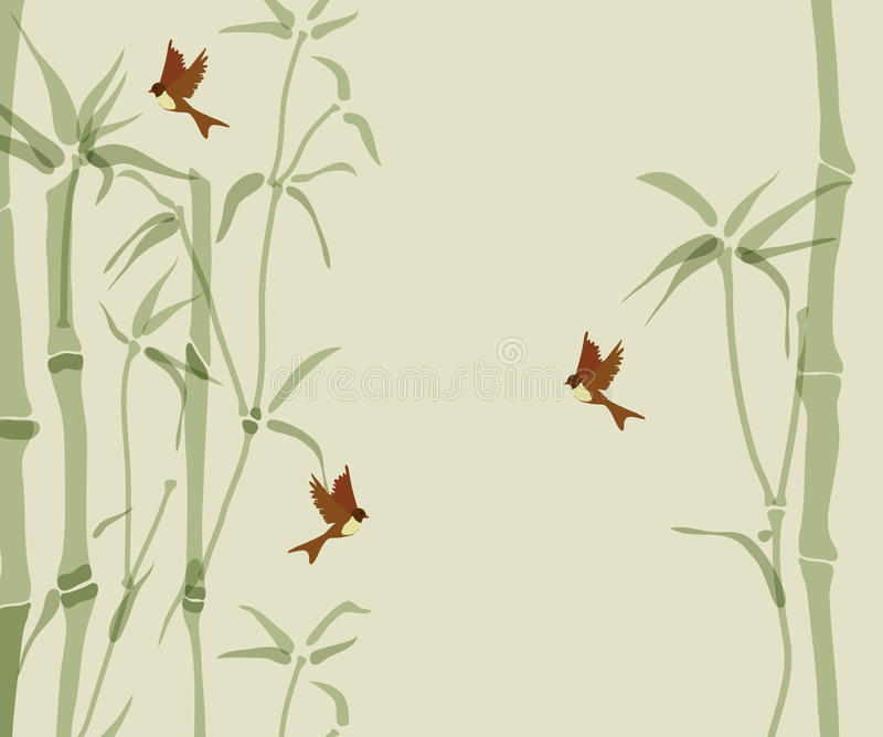 Download Card With Bamboo And Swallows Royalty Free Stock Photos - Image: 23262768