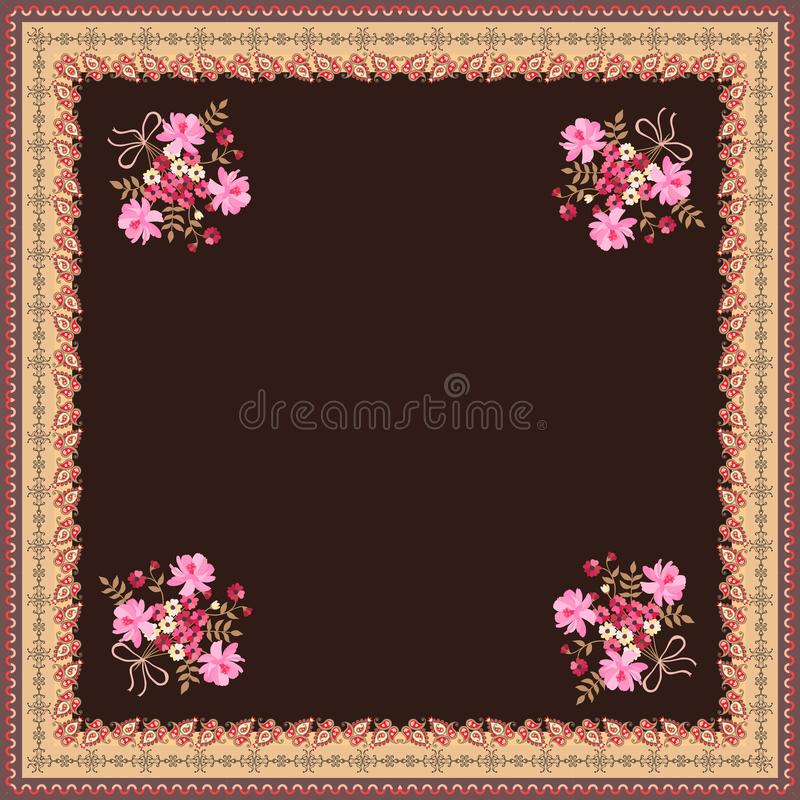 Card, bandana print, kerchief design, napkin with cute bunch of flowers and paisley ornamental border on brown background.  royalty free illustration