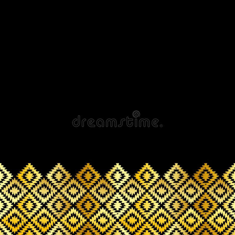 Card banner, pattern Turkish carpet gold black. Patchwork mosaic oriental kilim rug with traditional folk geometric ornament. vector illustration